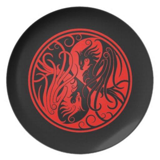 Yin rojo y negro Yang Phoenix Plato De Comida