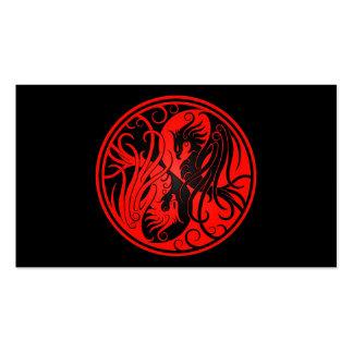 Yin rojo y negro Yang Phoenix Tarjetas De Visita