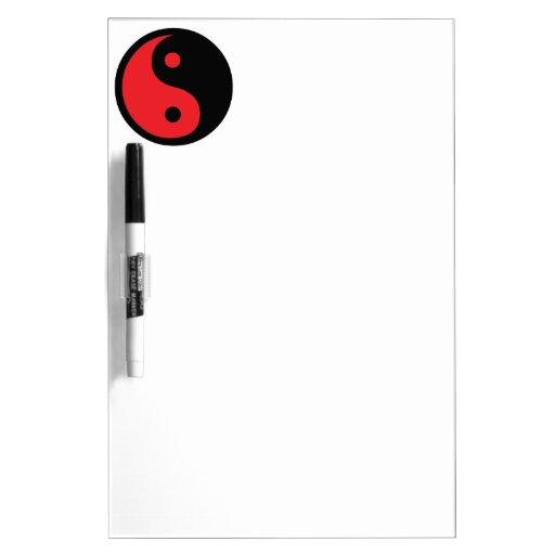 Yin rojo y negro Yang Pizarras Blancas