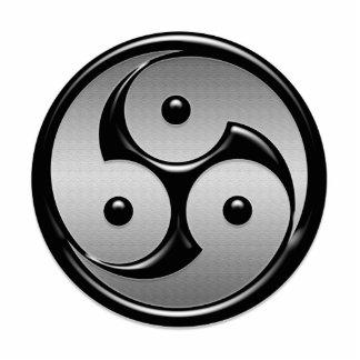 Yin triple Yang - metal y negro brillante Fotoescultura Vertical
