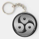 Yin triple Yang - metal y negro brillante Llavero Personalizado