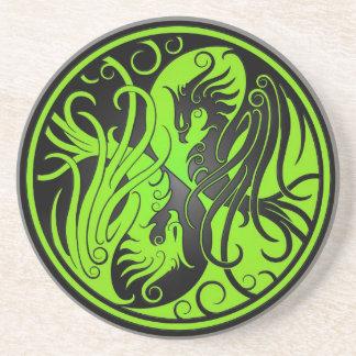 Yin verde y negro Yang Phoenix Posavasos Para Bebidas