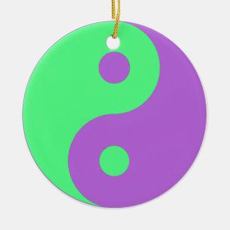 Yin verde y púrpura Yang Ornamento De Navidad