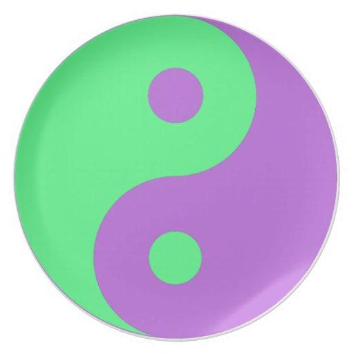 Yin verde y púrpura Yang Plato De Comida