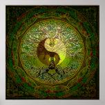 Yin verde Yang con el árbol de la vida