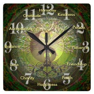 Yin verde Yang con palabras positivas Reloj Cuadrado