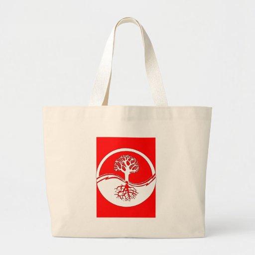 Yin y símbolo rojos de yang bolsas de mano