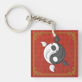 Yin y Yang el llavero del acrílico de Koi