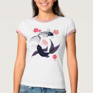 Yin y Yang Koi y camisetas de las flores de cerezo