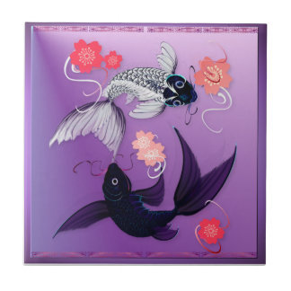 Yin y Yang Koi y tejas de las flores de cerezo