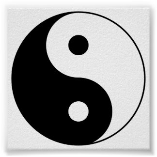 Yin_Yang2 blanco y negro Póster