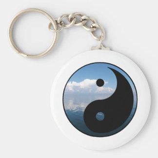yin yang-1 basic round button keychain