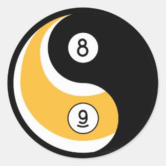 Yin Yang 8 Ball 9 Ball Symbol - Billiards Game Classic Round Sticker