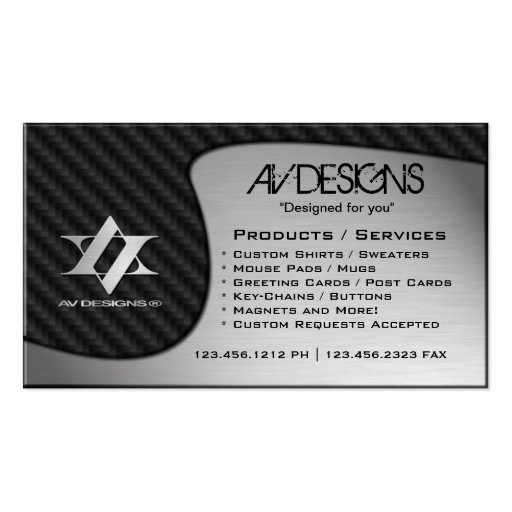 Yin Yang Abstract Carbon / Brushed Aluminum Double-Sided Standard Business Cards (Pack Of 100)