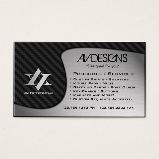 Yin Yang Abstract Carbon / Brushed Aluminum Business Card