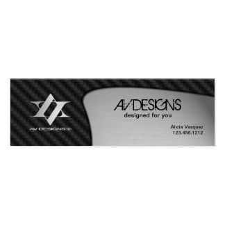 Yin Yang Abstract Carbon / Brushed Aluminum Double-Sided Mini Business Cards (Pack Of 20)