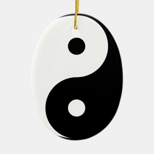 Yin Yang Adorno Navideño Ovalado De Cerámica
