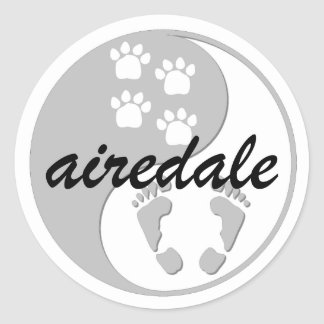 yin yang airedale classic round sticker