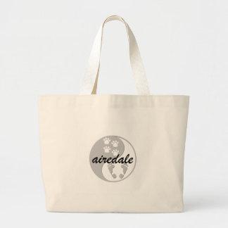 yin yang airedale jumbo tote bag