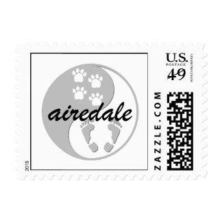 yin yang airedale postage stamps