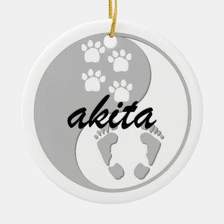 yin yang akita Double-Sided ceramic round christmas ornament