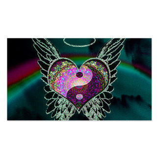 Yin Yang, alas del ángel y corazón Plantilla De Tarjeta Personal