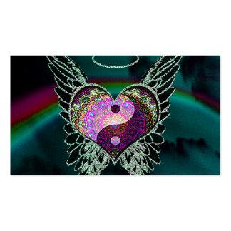 Yin Yang, alas del ángel y corazón Tarjetas De Visita