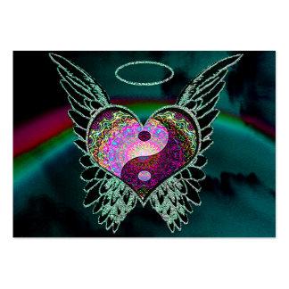Yin Yang, alas del ángel y corazón Tarjetas De Visita Grandes