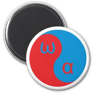 Yin Yang alpha omega 2 Inch Round Magnet