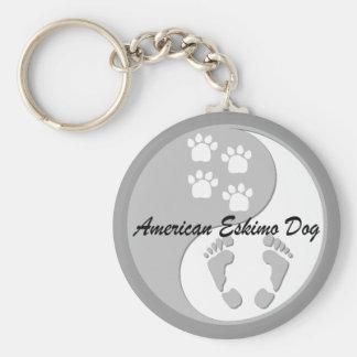 yin yang american eskimo dog keychain