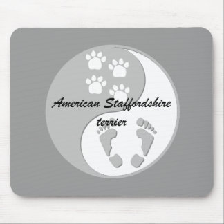 yin yang american staffordshire terrier mouse pad