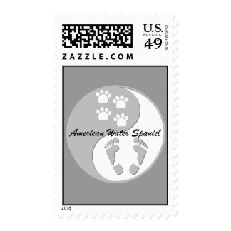yin yang american water spaniel stamp