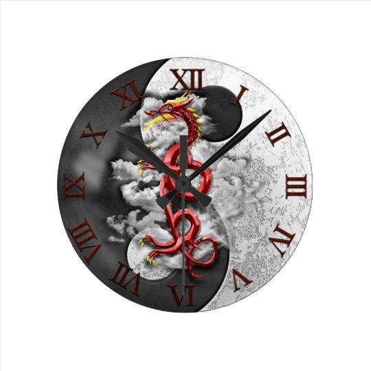 Yin Yang And Dragon Round Clock