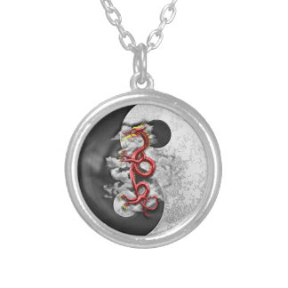 Yin Yang And Dragon Silver Plated Necklace
