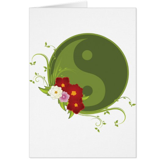 Yin Yang and Flowers Card