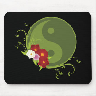 Yin Yang and Flowers Mouse Pad