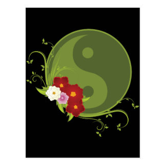 Yin Yang and Flowers Postcard