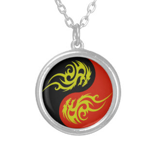 yin yang and golden dragon silver plated necklace