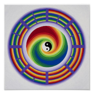 Yin Yang and I Ching in a mandala in full color Poster