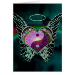 Yin Yang, Angel Wings and Heart Greeting Card