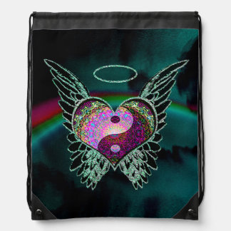 Yin Yang, Angel Wings, Heart and Space Drawstring Bag