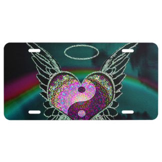 Yin Yang, Angel Wings, Heart and Stars License Plate