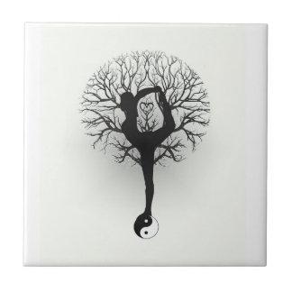 Yin Yang, árbol de la vida, mujeres, yoga Azulejo Cuadrado Pequeño