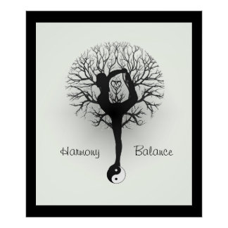 Yin Yang, árbol de la vida, mujeres, yoga Impresiones
