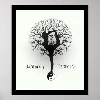 Yin Yang, árbol de la vida, mujeres, yoga Póster