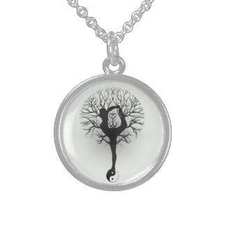 Yin Yang, árbol de la vida, yoga, armonía, balanza Collar De Plata Esterlina