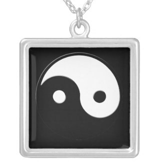 Yin-Yang Asian symbol for Balance Square Necklace