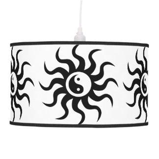 Yin-Yang Aztec Sun-Black/White Hanging Lamp