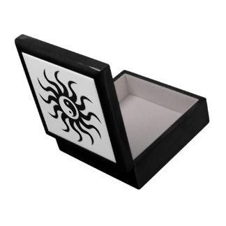 Yin-Yang Aztec Sun-Black/White Keepsake Box