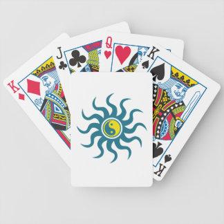 Yin-Yang Aztec Sun-Blue/Yellow Bicycle Playing Cards